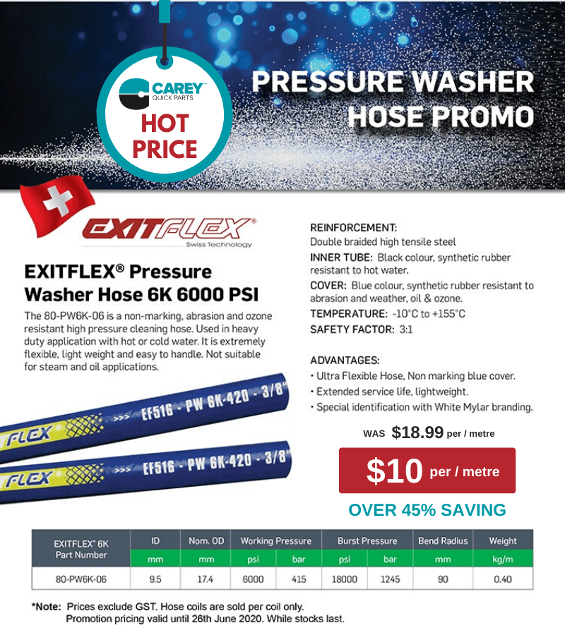 Pressure Washer Hose discount offer. Save over 45% on heavy duty pressure washer hose. Call Carey Pacific on 3715 1300 to find out more.