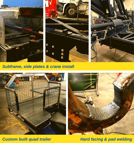Sub frame, side plates and crane installation