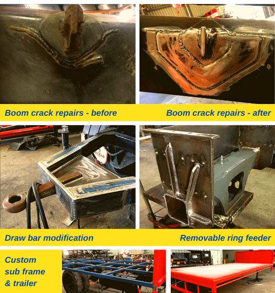 Boom crack repairs before and after, draw bar modification, removable ring feeder, custom sub frame and trailer.