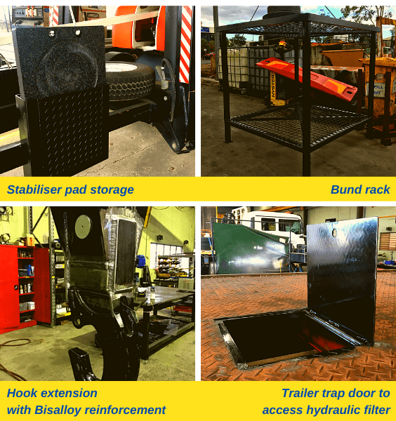 Stabiliser pad storage, bund rack, hook extension with Bisalloy reinforcement and Trailer trap door to access hydraulic filter.