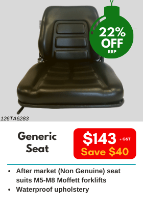 Generic seat to suit Moffett Forklifts